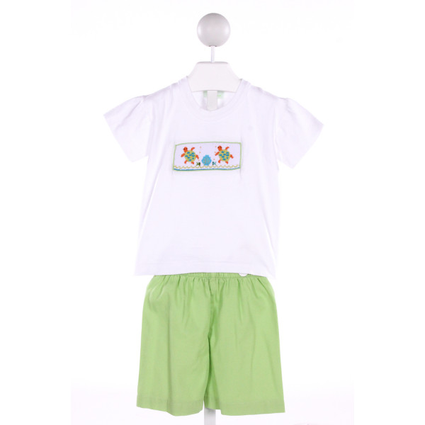 BE MINE  GREEN   SMOCKED 2-PIECE OUTFIT