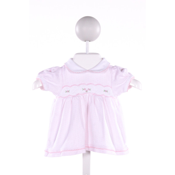 MAGNOLIA BABY  PINK  POLKA DOT SMOCKED KNIT SS SHIRT WITH PICOT STITCHING