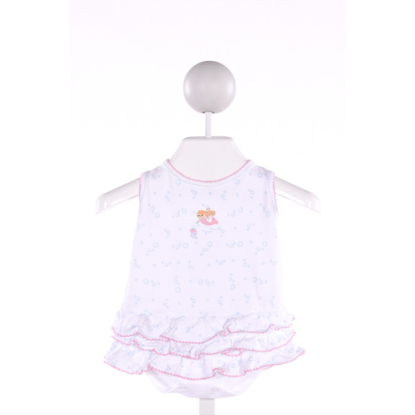 MAGNOLIA BABY  MULTI-COLOR  PRINT EMBROIDERED BUBBLE WITH PICOT STITCHING
