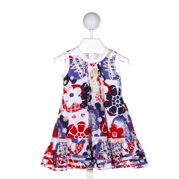 DEUX PAR DEUX  MULTI-COLOR  FLORAL SMOCKED DRESS