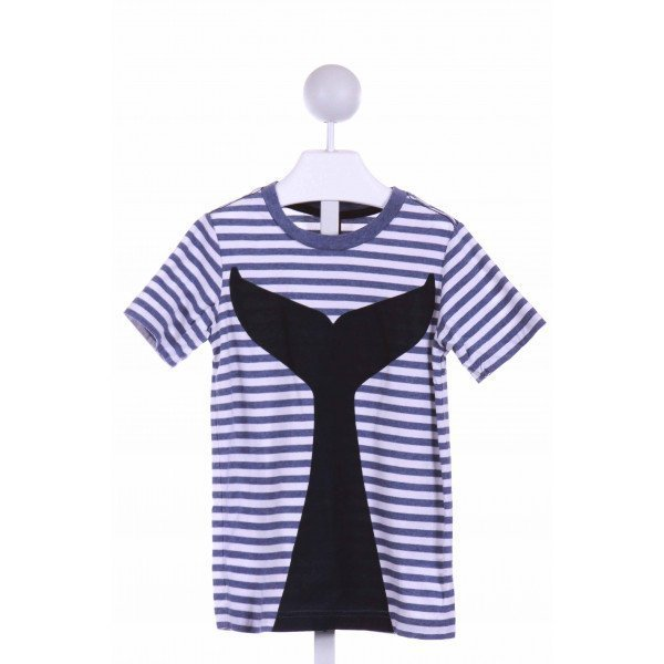 TEA  BLUE  STRIPED PRINTED DESIGN KNIT SS SHIRT