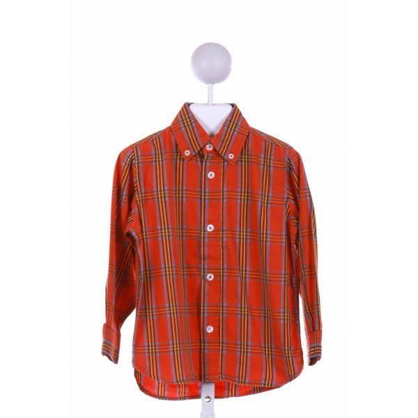 KITESTRINGS  ORANGE  PLAID  CLOTH LS SHIRT