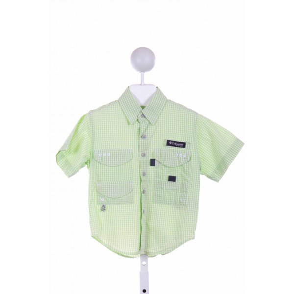 COLUMBIA  GREEN  GINGHAM  CLOTH SS SHIRT