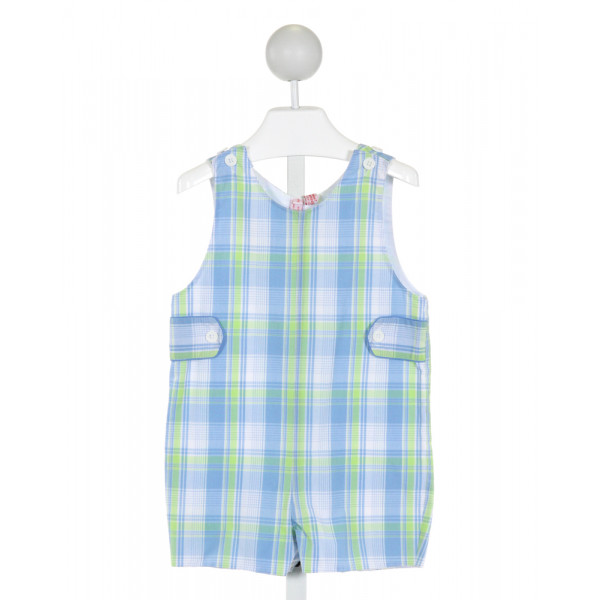 ORIENT EXPRESSED  LT BLUE  PLAID  JOHN JOHN/ SHORTALL