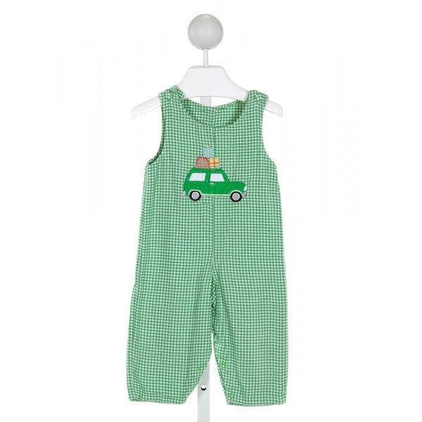 GLORIMONT  GREEN  GINGHAM EMBROIDERED LONGALL/ROMPER (F)