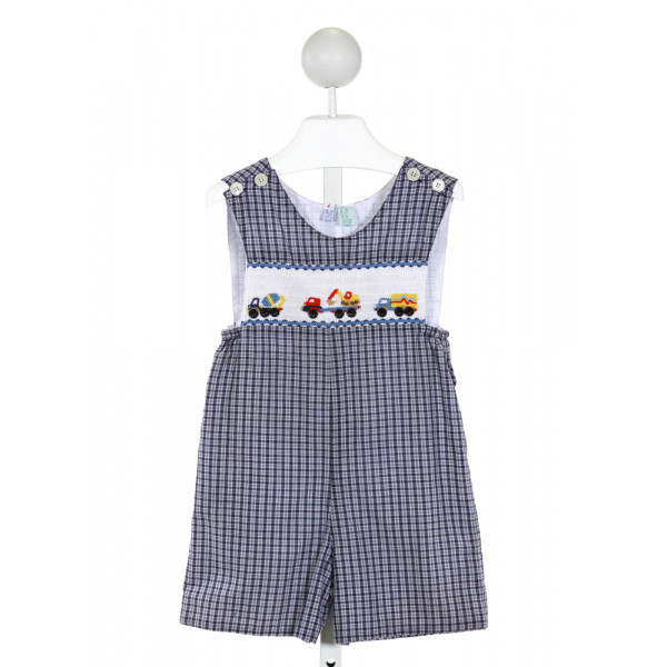 THE PLANTATION SHOP  ROYAL BLUE  PLAID SMOCKED JOHN JOHN/ SHORTALL