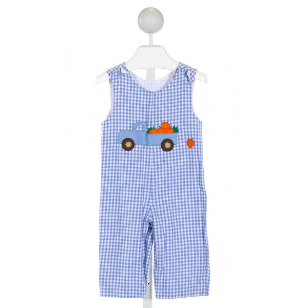 RAGSLAND  LT BLUE  GINGHAM EMBROIDERED LONGALL/ROMPER