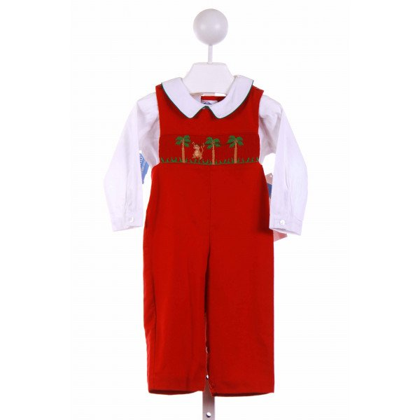 SILLY GOOSE  RED   SMOCKED 2-PIECE OUTFIT