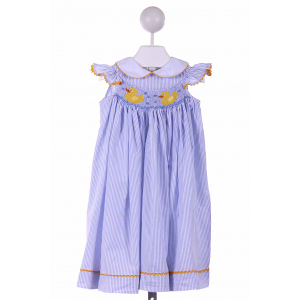 POSH PICKLE  BLUE  STRIPED SMOCKED CASUAL DRESS