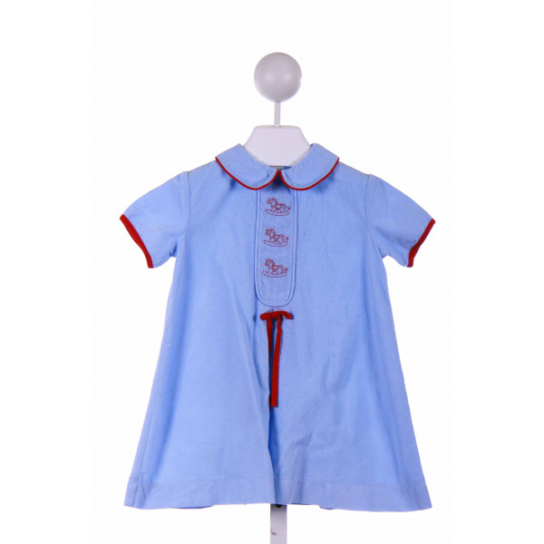 POSH PICKLE  BLUE CORDUROY  EMBROIDERED CASUAL DRESS