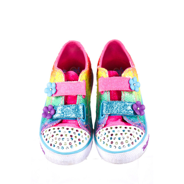 RAINBOW TWINKLE TOES SKETCHERS WITH VELCRO STRAPS AND SEQUINS *SIZE 9.5, VGU - MINOR DISCOLORATION