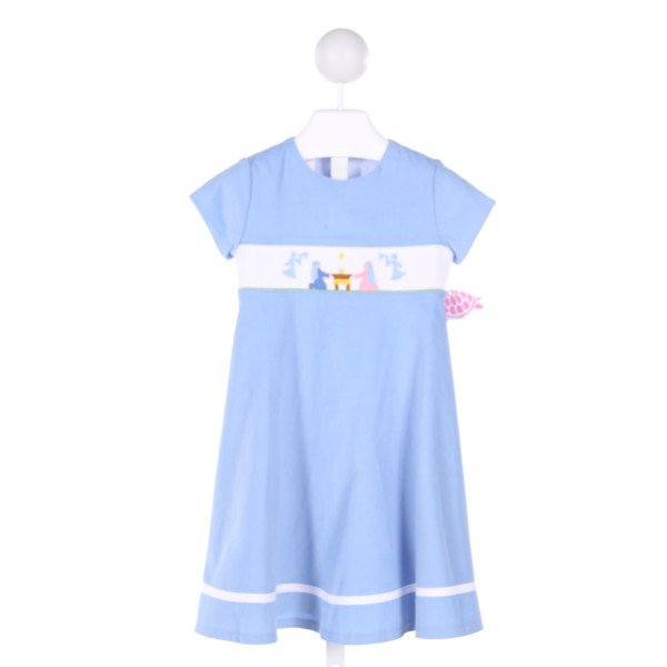 LOLLY WOLLY DOODLE  LT BLUE CORDUROY  SMOCKED DRESS