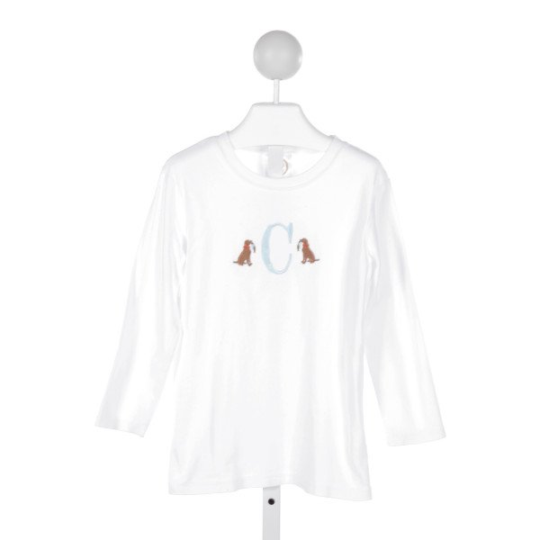 BLANKS BOUTIQUE  WHITE   EMBROIDERED KNIT LS SHIRT