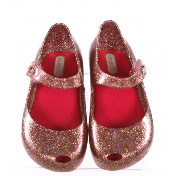 MINI MELISSA PINK SPARKLY SHOES *SIZE 10, VGU - SLIGHT SCUFFING