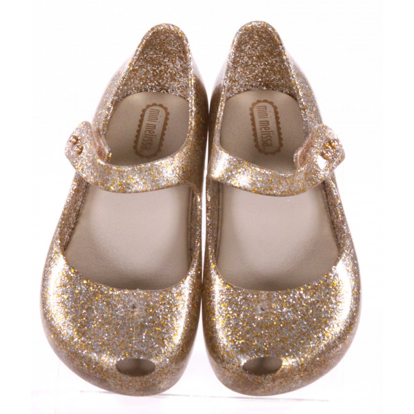 MINI MELISSA GOLD SPARKLY SHOES *SIZE 10, VGU - VERY SLIGHT SCUFFING