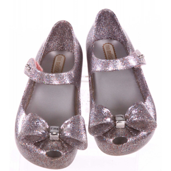MINI MELISSA SILVER SPARKLY SHOES WITH BOWS *SIZE 10, VGU - SCUFFING