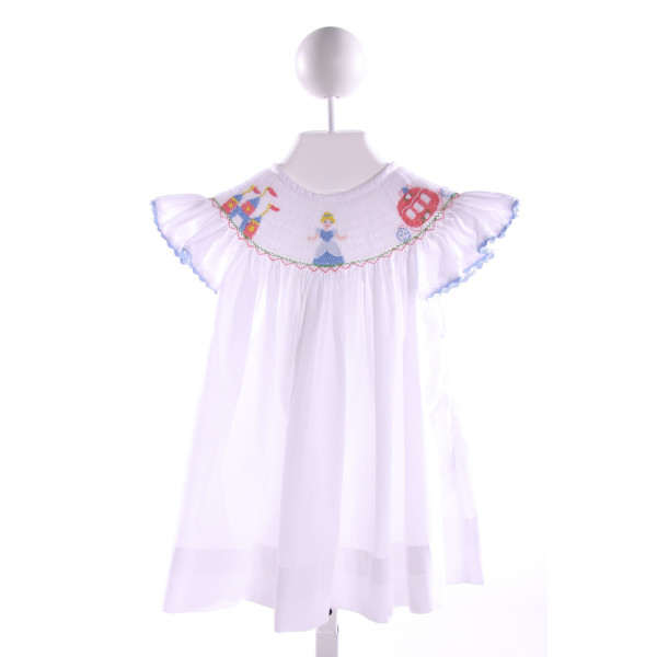 SMOCKINGBIRD  WHITE   SMOCKED TOP WITH RIC RAC