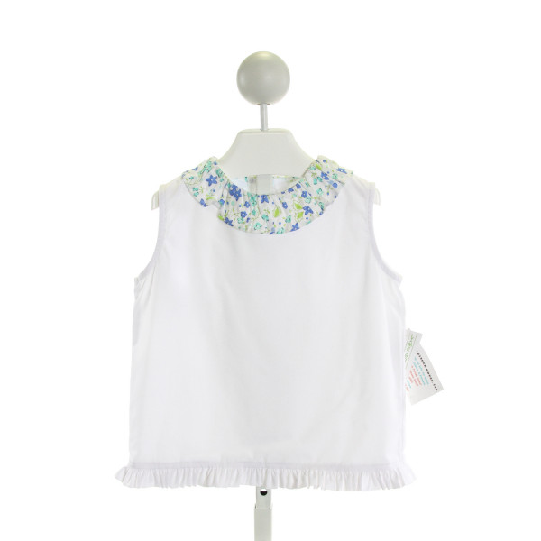 LIME GREEN  WHITE    KNIT SS SHIRT WITH RUFFLE