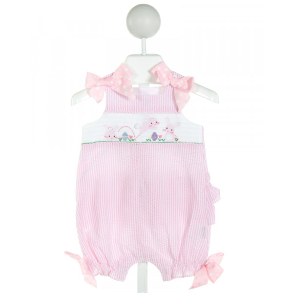 MUD PIE  LT PINK SEERSUCKER STRIPED SMOCKED ROMPER WITH RUFFLE