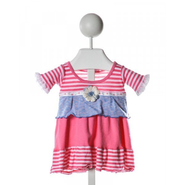 TONI TIERNEY  HOT PINK  STRIPED APPLIQUED KNIT DRESS WITH RUFFLE