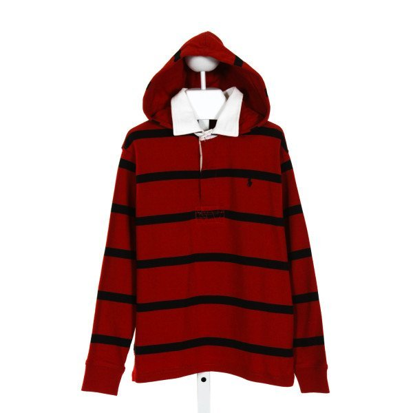 POLO BY RALPH LAUREN  RED  STRIPED  KNIT LS SHIRT