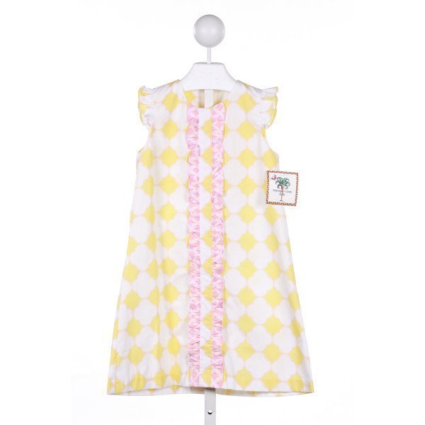 SHRIMP & GRITS  YELLOW  PRINT  CASUAL DRESS WITH RUFFLE