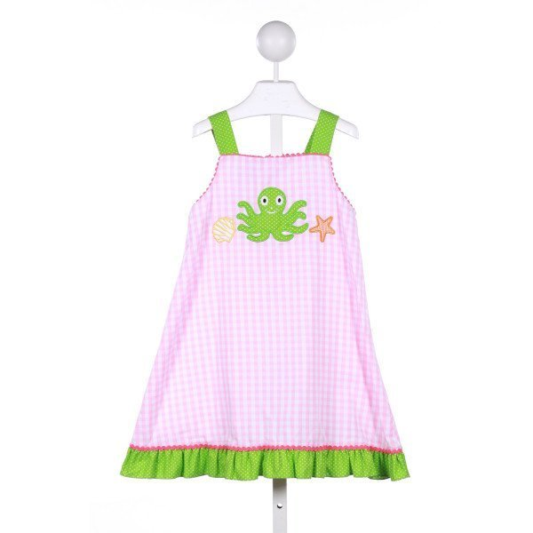 CANDYLAND  PINK  GINGHAM  CASUAL DRESS WITH RIC RAC