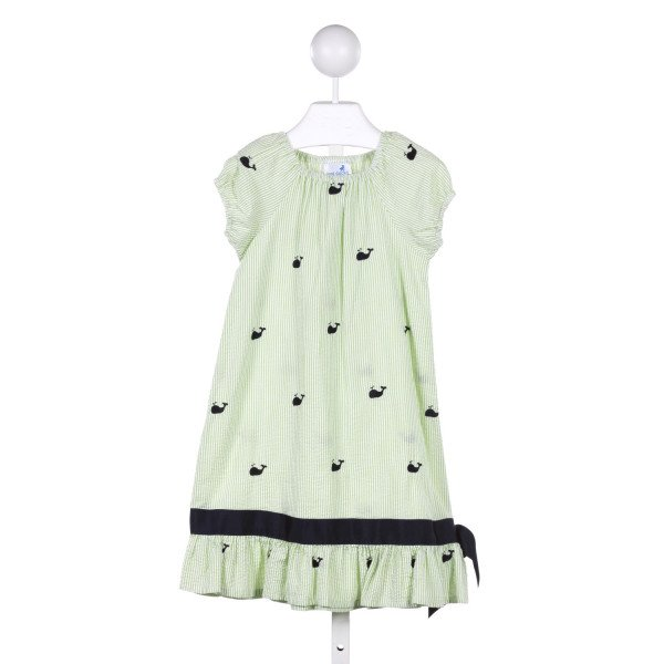 JUST DUCKY  GREEN SEERSUCKER STRIPED  CASUAL DRESS
