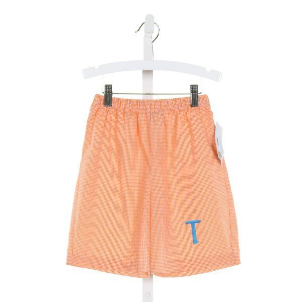 MONDAY'S CHILD  ORANGE  GINGHAM EMBROIDERED SHORTS