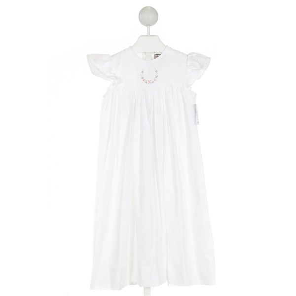 SHRIMP & GRITS  WHITE   EMBROIDERED DRESS WITH RUFFLE