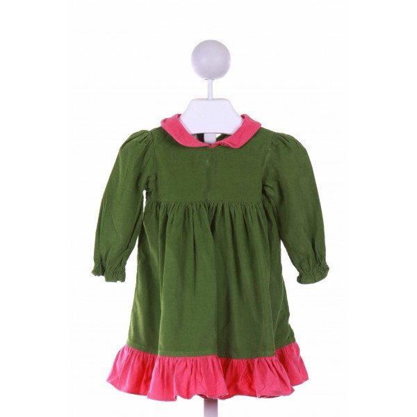 PRECIOUS ONE  GREEN CORDUROY   CASUAL DRESS WITH RUFFLE