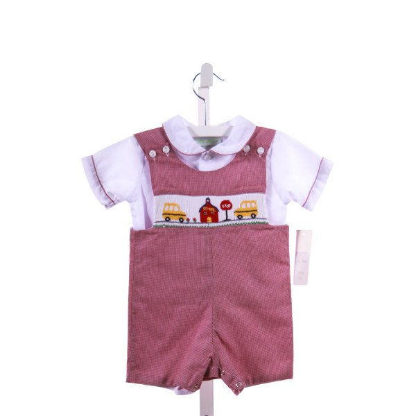 BE MINE  RED  MICROCHECK SMOCKED 2-PIECE OUTFIT