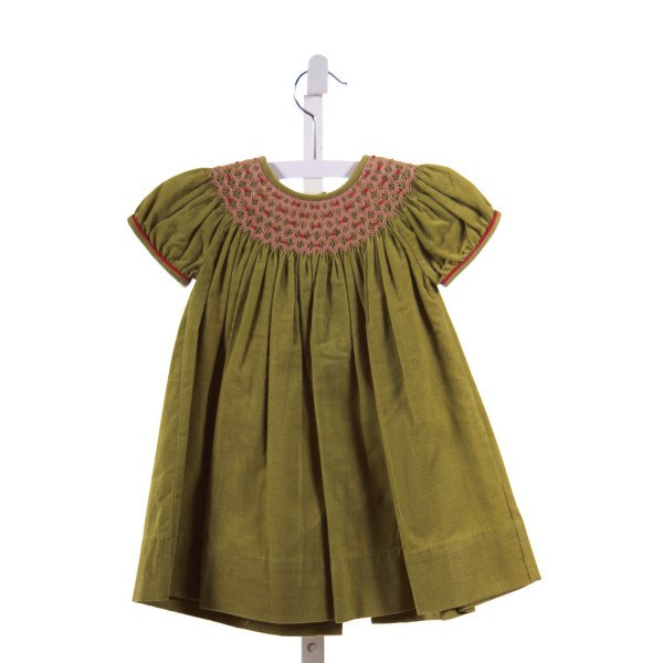 FANCY THREADS  GREEN CORDUROY  SMOCKED CASUAL DRESS