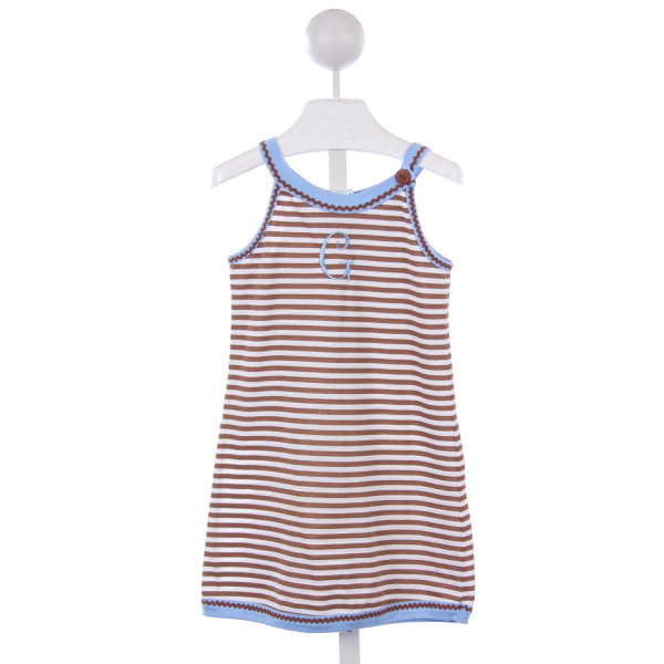 "PATSY AIKEN BROWN AND WHITE STRIPE KNIT DRESS WITH BLUE TRIM AND MONOGRAMMED ""G"""
