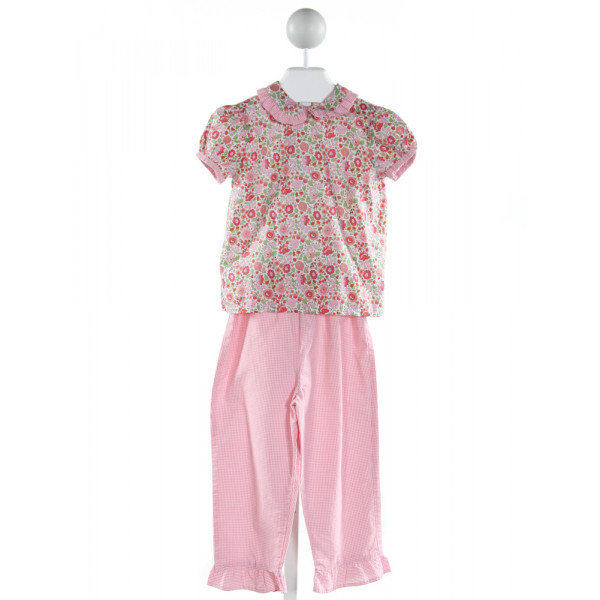 MARY & GRACE  PINK  GINGHAM PRINTED DESIGN 2-PIECE OUTFIT WITH RUFFLE