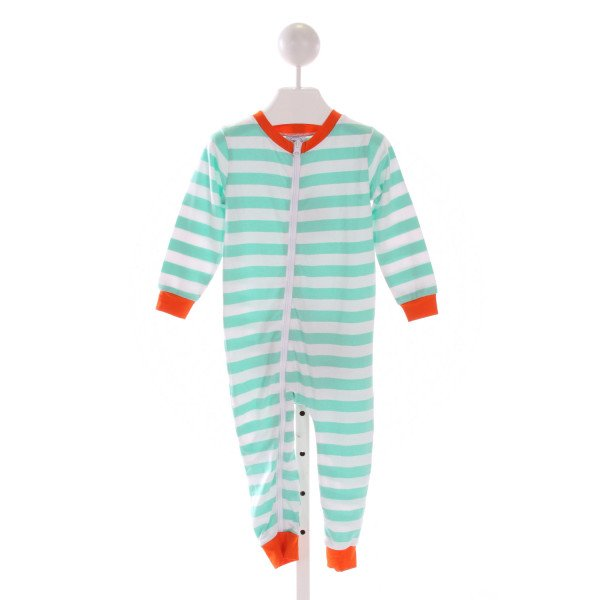 SMOCK MONKEY  LT GREEN  STRIPED APPLIQUED LONGALL/ROMPER