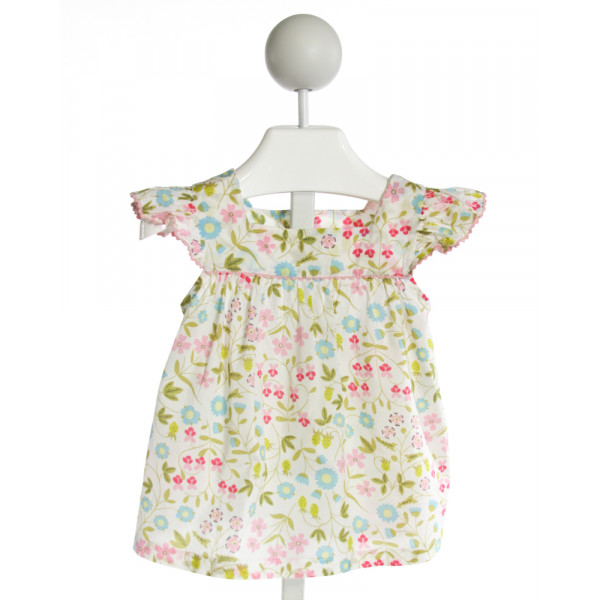 KATE & LIBBY  IVORY  FLORAL  CLOTH SS SHIRT WITH RIC RAC