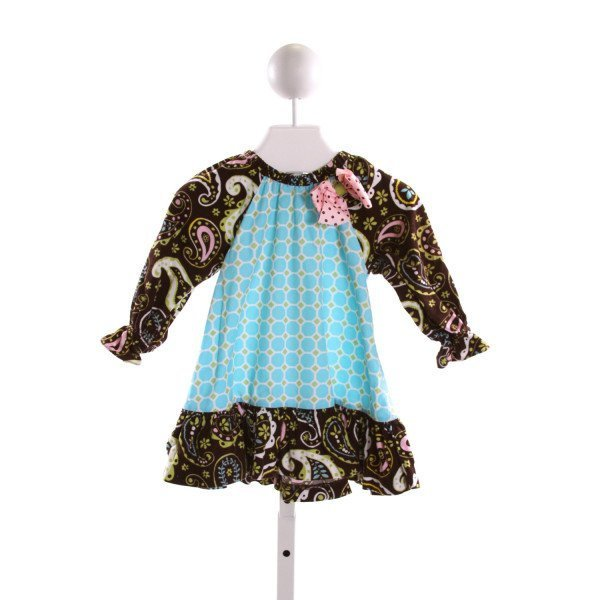 PEACHES 'N CREAM  MULTI-COLOR CORDUROY  PRINTED DESIGN DRESS WITH RUFFLE