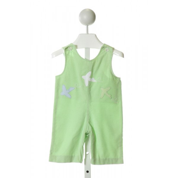 FUNTASIA TOO  LT GREEN CORDUROY  EMBROIDERED LONGALL/ROMPER