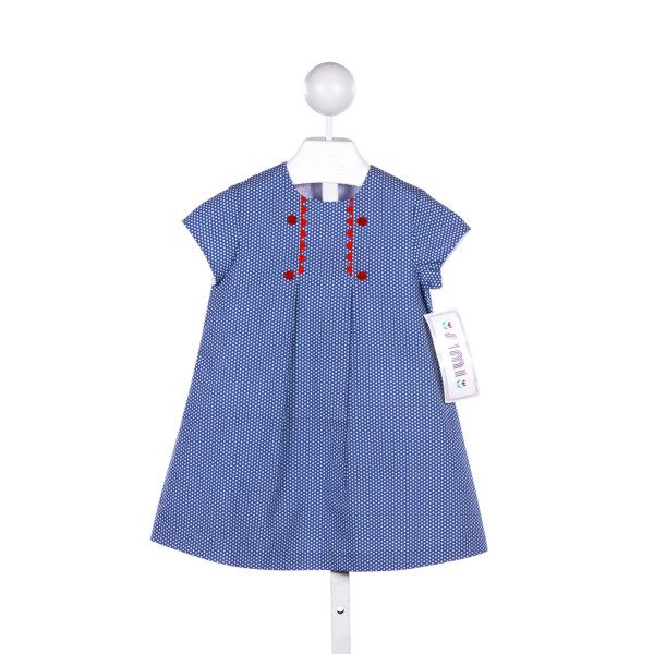 SIMI BABY  BLUE  POLKA DOT  CASUAL DRESS WITH RIC RAC
