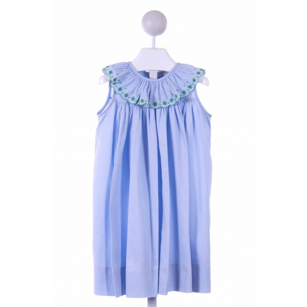 THE PROPER PEONY  BLUE PIQUE  EMBROIDERED CASUAL DRESS