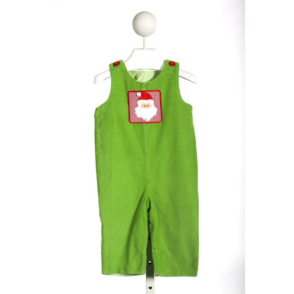 JUST DUCKY GREEN CORD ROMPER WITH SANTA APPLIQUE