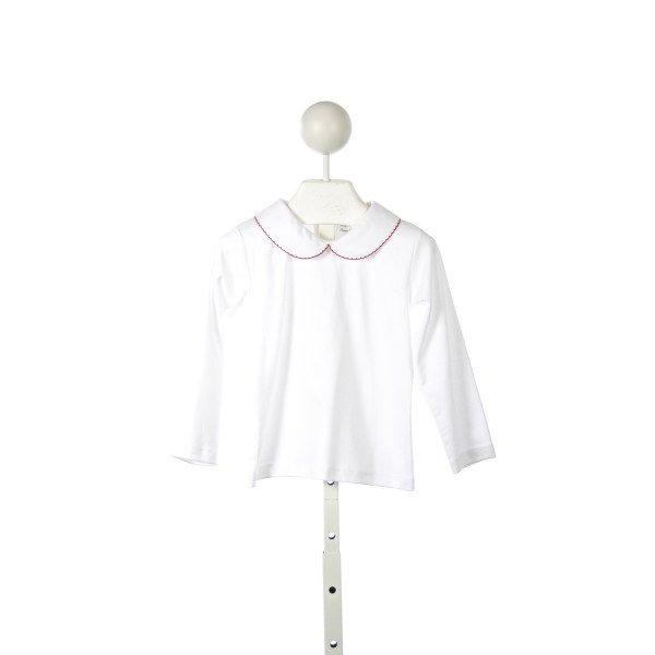 CLASSY COUTURE WHITE KNIT TOP WITH RED PICOT TRIM