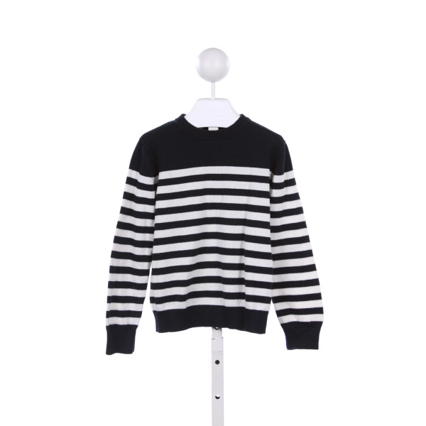 TOOBYDOO WHITE AND NAVY STRIPE SWEATER WITH BROWN ELBOW PATCHES