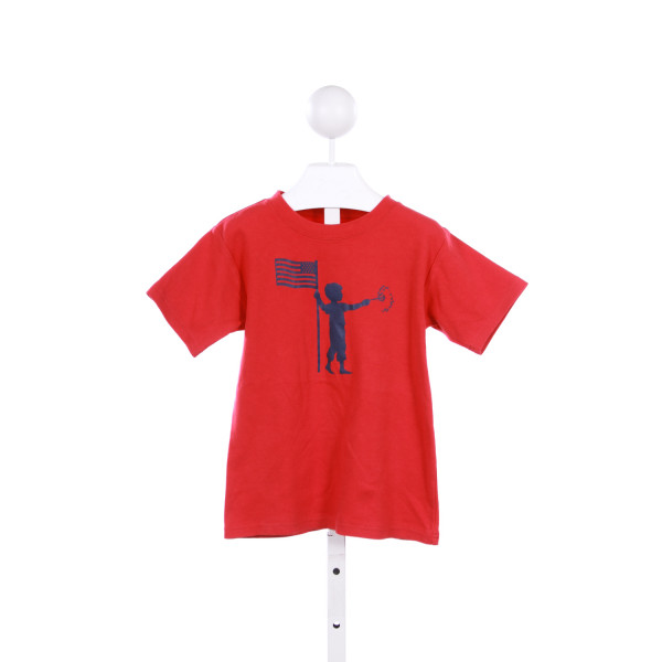 NOSTALGIC GRAPHIC TEES RED KNIT TOP WITH 4TH OF JULY SILHOUETTE