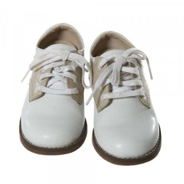 FOOTMATES WHITE AND KHAKI LEATHER SHOES *SIZE TODDLER 8.5, VGU- DISCOLORATION