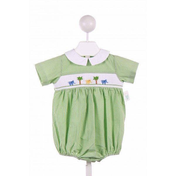 BETTI TERRELL  GREEN  GINGHAM SMOCKED BUBBLE