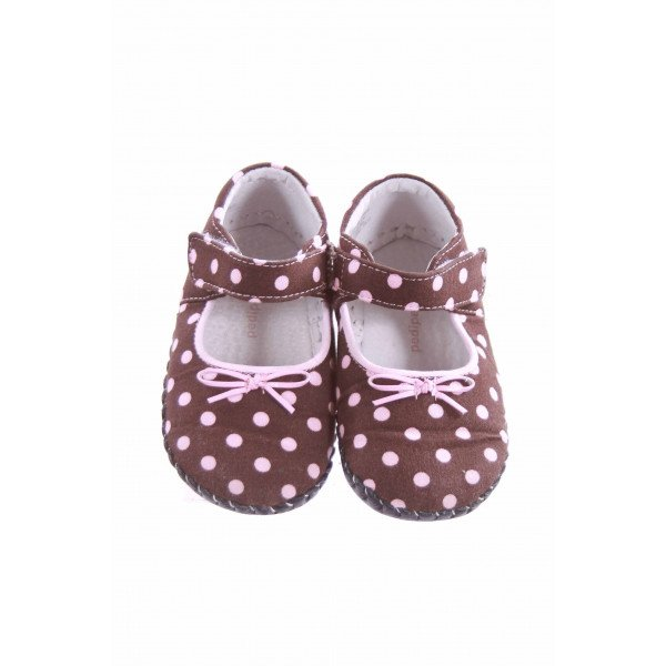 PEDIPED BROWN AND PINK POLKA DOT SOFT SHOES TODDLER SIZE 5.5 *EUC