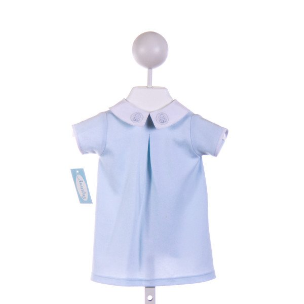 AURALUZ  BLUE KNIT  EMBROIDERED LAYETTE