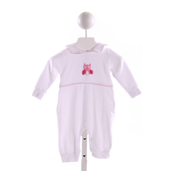 LITTLE ENGLISH  MULTI-COLOR   EMBROIDERED KNIT ROMPER WITH PICOT STITCHING